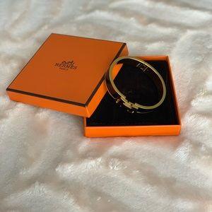 Hermès Clic H Bracelet - Black with Gold hardwear